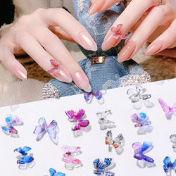 2Pcs 3D Butterfly Nail Art Decorations Handmade Colorful Mini Butterfly Jewelry Acrylic UV Gel DIY Nails Accessoires Manicure