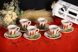 Turkish Tile Handmade Natural Earthenware Set of 6 Coffee Cups and Saucers Colorful traditional method warm coffee pot anatolian