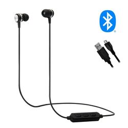 Wireless Lightweight Rechargeable Silicone Earbuds Earphones Speaker Sports - Black