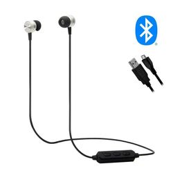 Wireless Lightweight Rechargeable Silicone Earbuds Earphones Speaker Sports - Silver