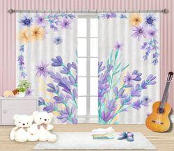 3D Printing Curtain Purple Flowers 137 ACHX Curtains Drapes, 203cmx241cm(WxH) 80''x 94''