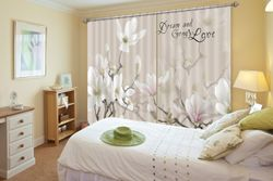 3D Printing Curtain White Petals 135 ACHX Curtains Drapes, 360cmx270cm(WxH) 141''x 106''