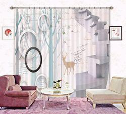 3D Printing Curtain Forest Fawn 134 ACHX Curtains Drapes, 203cmx160cm(WxH) 80''x 63''