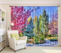 3D Printing Curtain Forest Beauty 132 ACHX Curtains Drapes, 203cmx160cm(WxH) 80''x 63''