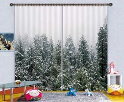 3D Printing Curtain Heavy Snow Forest 129 ACHX Curtains Drapes, 264cmx241cm(WxH) 104''x 94''