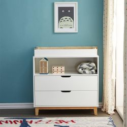 JOY BABY Aurora 2 Drawers Chest of Draw with Change Table - White