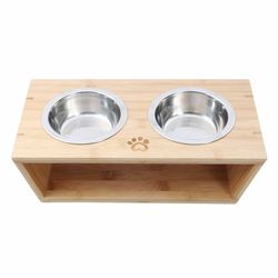 Charlie'S Pet Natural Bamboo Pet Feeder With Stainless Steel Bowls- Large