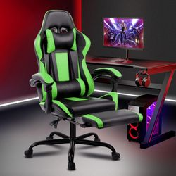 ALFORDSON Gaming Office Chair Executive Racing Footrest Seat PU Leather Green
