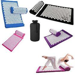 Yoga Acupressure Mat Massage Mats Pain Stress Soreness Relax Black Blue