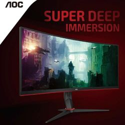 AOC 34' Curved 3440 x 1440 21:9, 1ms, HDR, Ultra Fast 144Hz Panel, Adaptive Sync Gaming Monitor