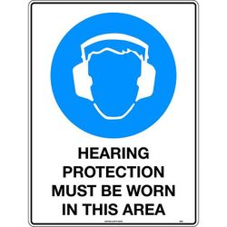 Hearing Protection Must Be Worn In This Area Mining Safety Sign 300x225mm Metal