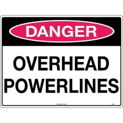 Danger Overhead Powerlines Safety Sign 600x450mm Corflute