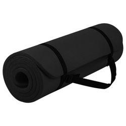 Verpeak 15MM Thick NBR Yoga Mat with Yoga Bag & Straps Black
