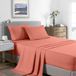 Royal Comfort 2000 Thread Count Bamboo Cooling Sheet Set Ultra Soft Bedding - Double - Peach
