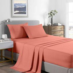 Royal Comfort 2000 Thread Count Bamboo Cooling Sheet Set Ultra Soft Bedding - Queen - Peach