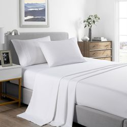 Royal Comfort 2000 Thread Count Bamboo Cooling Sheet Set Ultra Soft Bedding - King Single - White