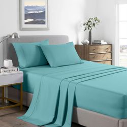 Royal Comfort 2000 Thread Count Bamboo Cooling Sheet Set Ultra Soft Bedding - King Single - Aqua