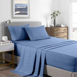 Royal Comfort 2000 Thread Count Bamboo Cooling Sheet Set Ultra Soft Bedding - King Single - Denim