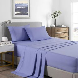 Royal Comfort 2000 Thread Count Bamboo Cooling Sheet Set Ultra Soft Bedding - King Single - Mid Blue