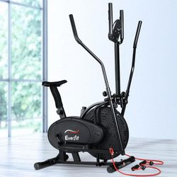 Exercise Bike & Elliptical Cross Trainer Fitness Equipment with Resistance Bands