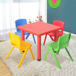 Keezi Kids Table and 4 Chairs Set Children Plastic Activity Play Outdoor 60x60cm