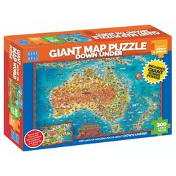 Blue Opal Giant Map Down Under Puzzle 300 Pc New