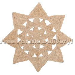 Uyuni Natural Jute Fibre Beige Star Shape Floor Rug (M)150x150cm