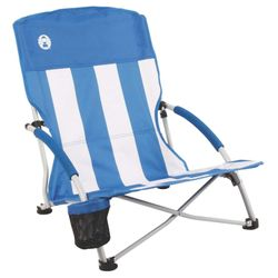 Coleman Beach Chair Quad Low Sling Blue/White Full Seat Support Steel Camping