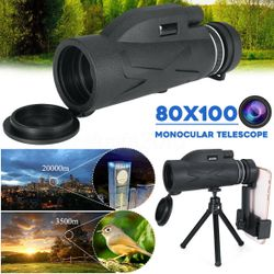 80X100 Zoom BAK4 HD Lens Prism Hiking Monocular Telescope + Phone Clip + Tripod
