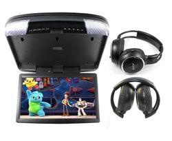 "Elinz 15.6"" DVD player Roof mount In Car Flip Down Monitor HDMI suit 12V/24V vehicle GREY"