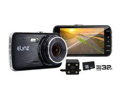 "Elinz 4.0"" LCD Dash Cam Dual Camera Reversing Car 1296P FHD DVR Video 170° 32GB"