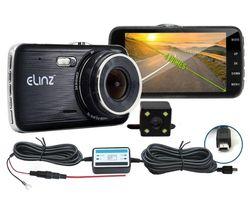 Elinz Dash Cam Dual Camera Reversing Recorder Car DVR Video 170° FHD 1296P 4.0 LCD