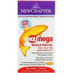 New Chapter, Wholemega, Extra-Virgin Wild Alaskan Salmon, Whole Fish Oil, 1,000 mg, 180 Softgels