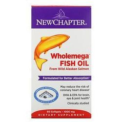New Chapter, Wholemega Fish Oil, From Wild Alaskan Salmon, 1,000 mg, 60 Softgels