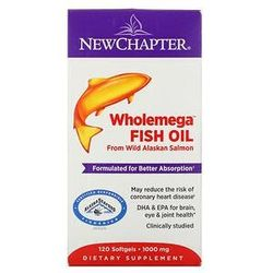 New Chapter, Wholemega Fish Oil, From Wild Alaskan Salmon, 1,000 mg, 120 Softgels