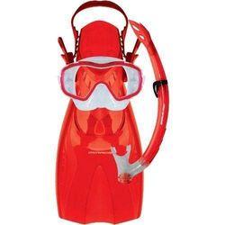 Mirage Shrimp Junior Silitex Mask, Snorkel & Fins Set Small Red