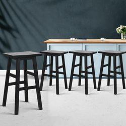 NEW Set of 4 Wooden Bar Stools Kitchen Bar Stool Chairs Barstools Black