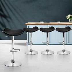 NEW Set of 4 Kitchen Bar Stools Swivel Bar Stool PU Leather Gas Lift Chair Black