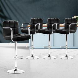 NEW 4x Bar Stools Kitchen Swivel Bar Stool Leather Gas Lift Chairs Black