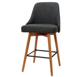 NEW Set of 4 Wooden Bar Stools Swivel Bar Stool Kitchen Dining Chairs Cafe Charcoal