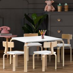 NEW 5PCS Childrens Table and Chairs Set Kids Furniture Toy Dining White Desk