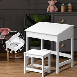 NEW Kids Table and Chairs Set Children Drawing Writing Desk Storage Toys Play