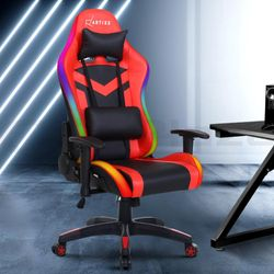 NEW Gaming Office Chair RGB LED Lights Computer Desk Chair Home Work Chairs