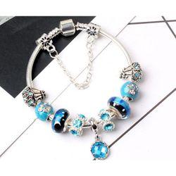 Fashion Creative Blue Star Bracelet Big Hole Starry Glass Beaded Crystal Pendant Jewelry