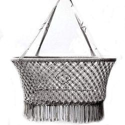 Macrame Hanging Baby Bassinet - Grey