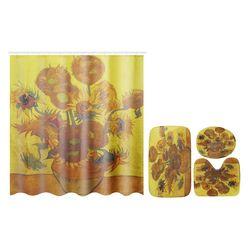 180x180cm Sunflower Bath Fabric Shower Curtains Waterproof Lid Toilet Cover Mat