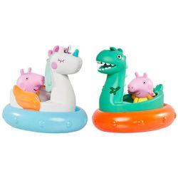 2x Tomy Peppa Pig Bath/Water Time Floats Baby Floating Toy Unicorn/Dinosaur 18m+