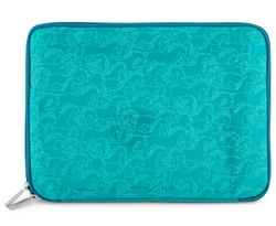 """Florence Broadhurst 11.5"""" Horses Lightweight Notebook/Laptop Fitted Sleeve GRN"""