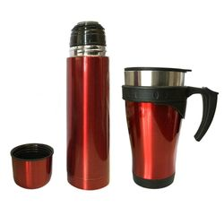 Stainless Steel Vacuum Flask 450ml Mug/500ml Bottle w/ Double Wall Cup Set