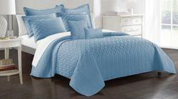 9 Piece Interlaced Vine Comforter Set-Queen Steel Blue